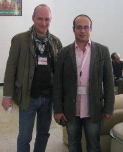 Tanzeem Group organizer Robert Becker in Tripoli with Ahmed Maher, co-founder of Egypt's April 6 Youth Movement.