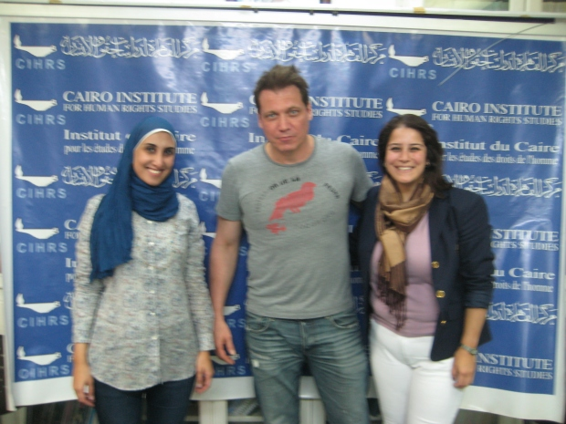McCallany at the Cairo Institute for Human Rights Studies with activists Rawda Saeed and Hafsa Halawa.