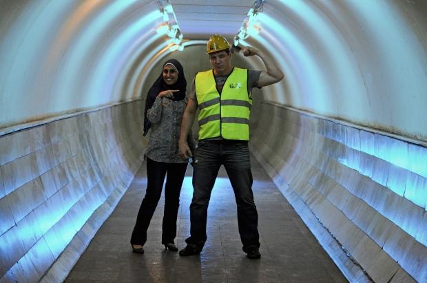 McCallany, who was named an honorary Tahrir Bodyguard, with civil society activist Rawda Saeed.
