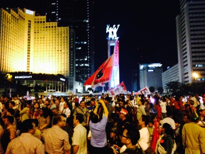 Election night celebrations by Jokowi supporters.