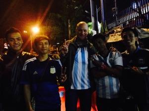 Tanzeem Group founder Robert Becker watching World Cup with fellow Argentina fans in Jakarta.